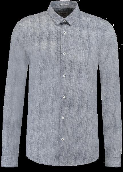Mørk blå Garcia Fiskebeinsmønster skjorte Agalaust